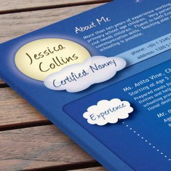 Creative Nanny CV Design - On Cloud Nine
